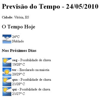 Previsão do Tempo com a API do Google Weather