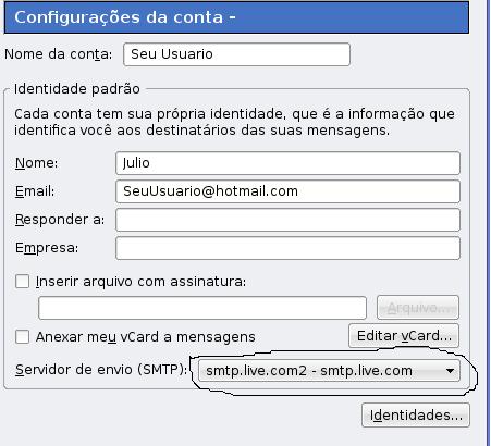 Configurando Thunderbird com hotmail no linux