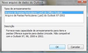 Criando pastas Particulares no MS Office Outlook 2003