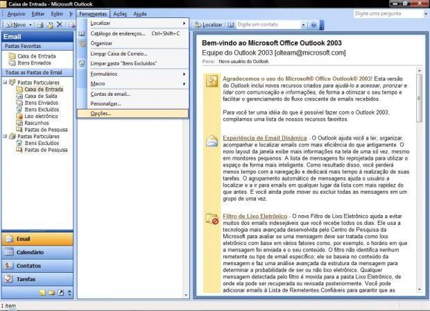 Configurando as Opções de Lixo Eletrônicono MS Office Outlook 2003 e 2007