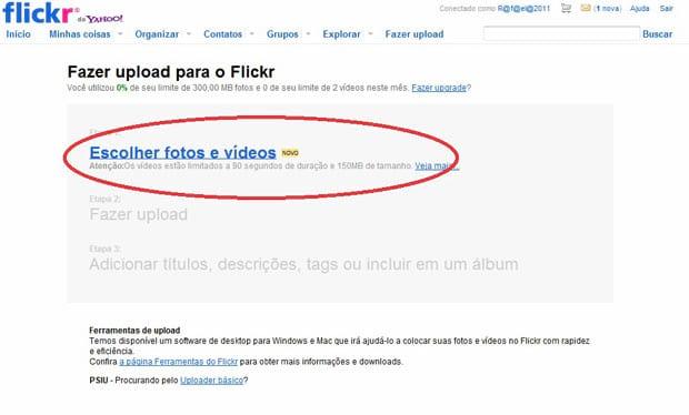 Como publicar uma foto no Flickr?
