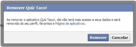 Removendo aplicativos do Facebook