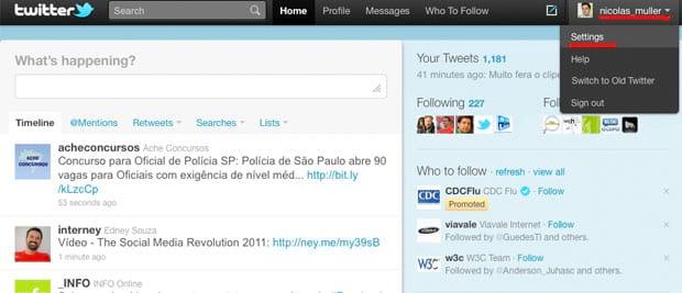 Como ativar o seu twitter em português