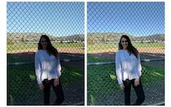 Imagem com HDR+ do Pixel Visual Core desativado  (esquerda) e ativado (direita).