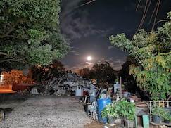 Foto noturna no aberto, antes de fazer a foto da Lua