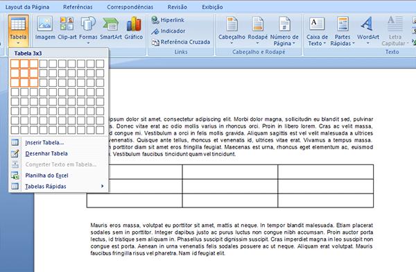 Como inserir uma tabela no Word