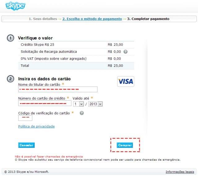 Como comprar créditos no Skype