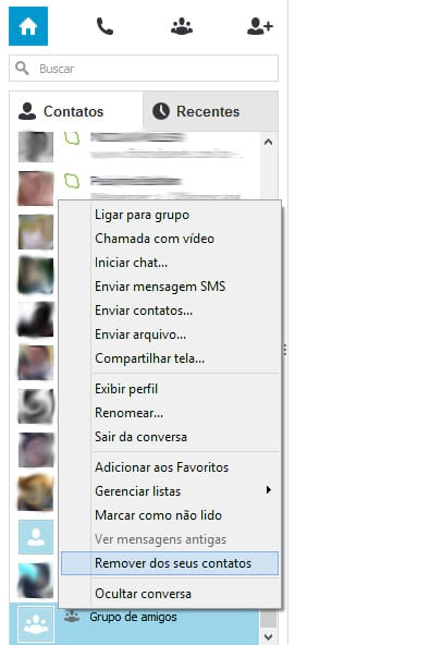 Como faço para organizar em grupos meus amigos no Skype?