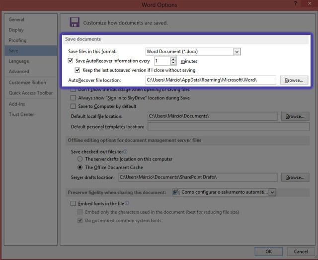 Como configurar o Autosave no Word 2013