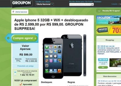 Site falso oferece iPhone 5 por R$ 599