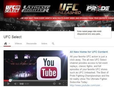 O UFC está entre os primeiros canais pagos no YouTube