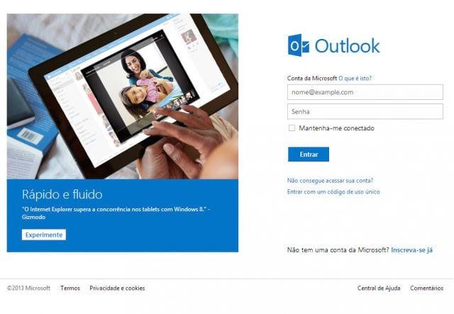Como criar um e-mail no Outlook.com