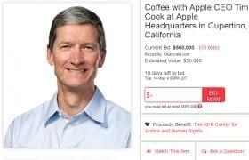 Admirador paga US$ 610 mil em leilão para tomar café com Tim Cook