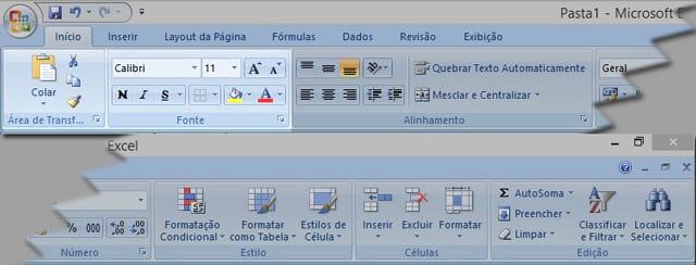 Menu início do Office Excel