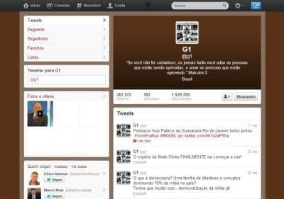 Twitter do G1 é hackeado