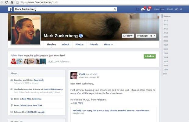 Hacker invade perfil de Mark Zuckerberg para reportar falha na rede social