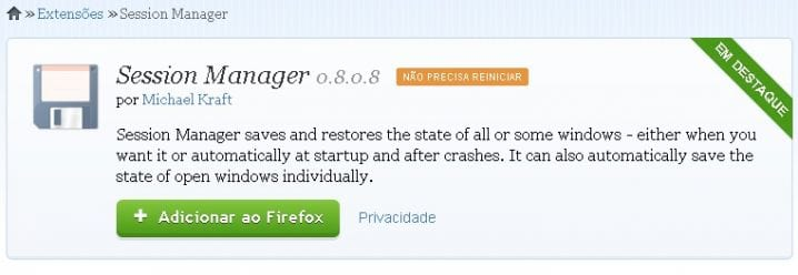 Session Manager - Complemetos do Firefox