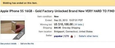 iPhone 5S dourado é vendido por mais de R$ 20 mil no eBay