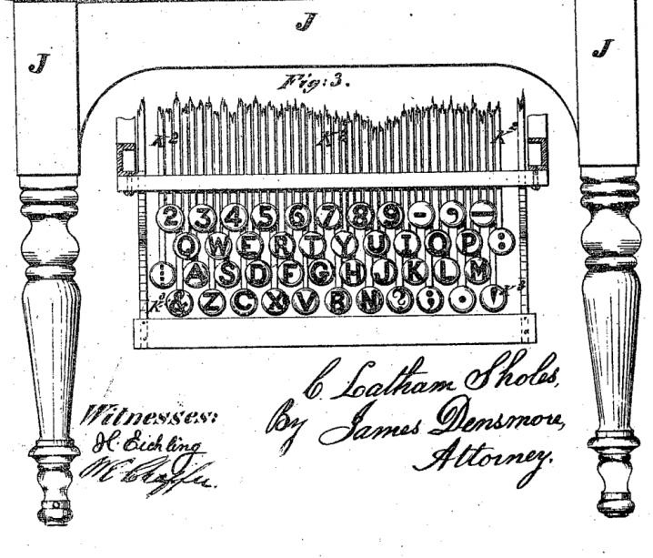 Patente de Christopher Sholes mostranto o teclado QWERTY