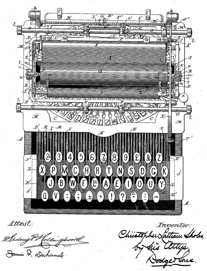 Outro layout de teclado criado por Christopher Sholes