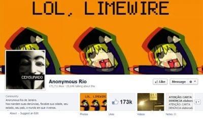 Página do Anonymous Rio foi hackeada no Facebook