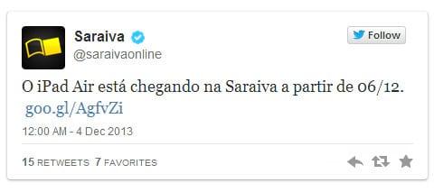 Lojas brasileiras anunciam chegada do iPad Air