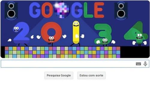 Google celebra através de seu Doodle fim do ano e início de 2014