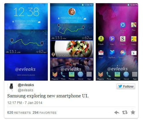 Imagem de possível homescreen do Galaxy S5 vaza na web