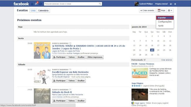 Sincronizando eventos do Facebook com o Google Agenda e Calendário