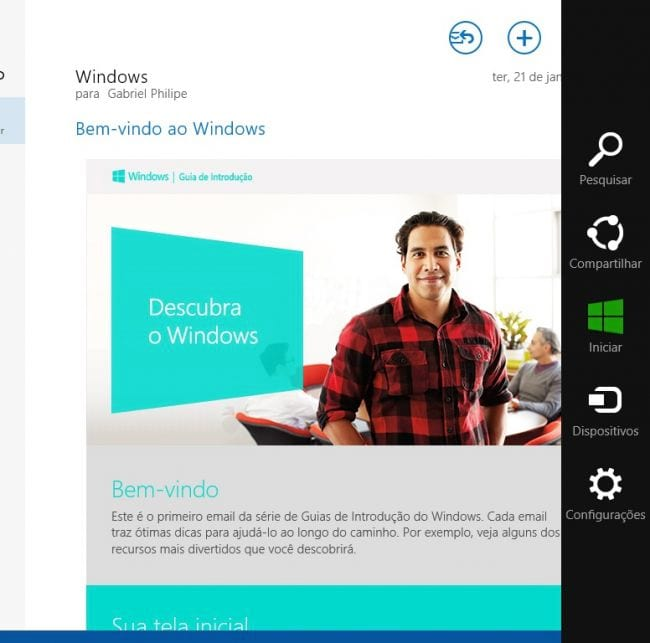 Windows 8: Ativando notificações de E-mail