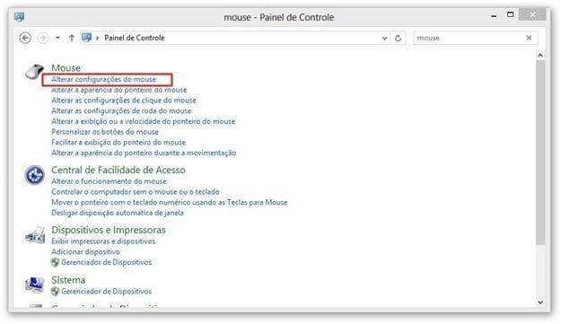 Como configurar o mouse para canhoto no Windows 10 e no Windows 8?