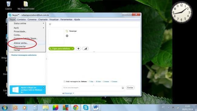 Como recuperar a senha do Skype?