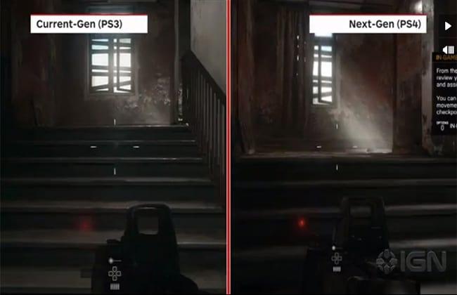 Comparação gráfica entre o PS3 e o PS4 no game Battlefield 4 (Fonte: IGN)