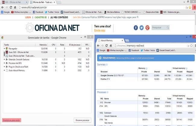 Gerenciador de Tarefas e Estatisticas Nerds do Chrome encontradas no menu de personalização /