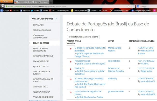 Central de debates do Firefox onde são encontradas as dúvidas que os usuários expõem e a comunidade discute uma solução.