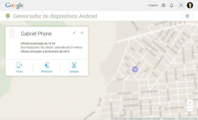 Device Manager, exibindo o local do Android