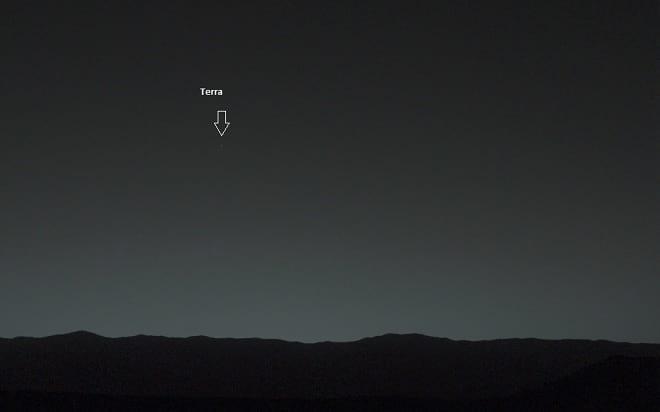 Veja imagem da Terra vista do Planeta Vermelho