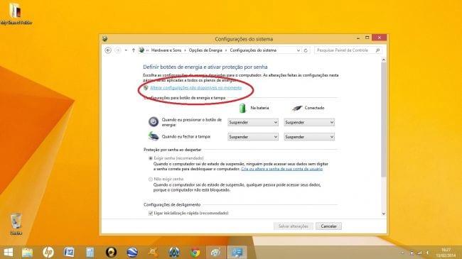 Como ativar o botão hibernar no Windows 8