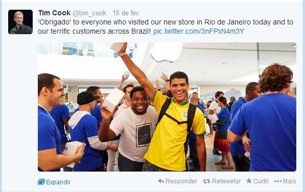 Tim Cook agradece aos brasileiros através do Twitter