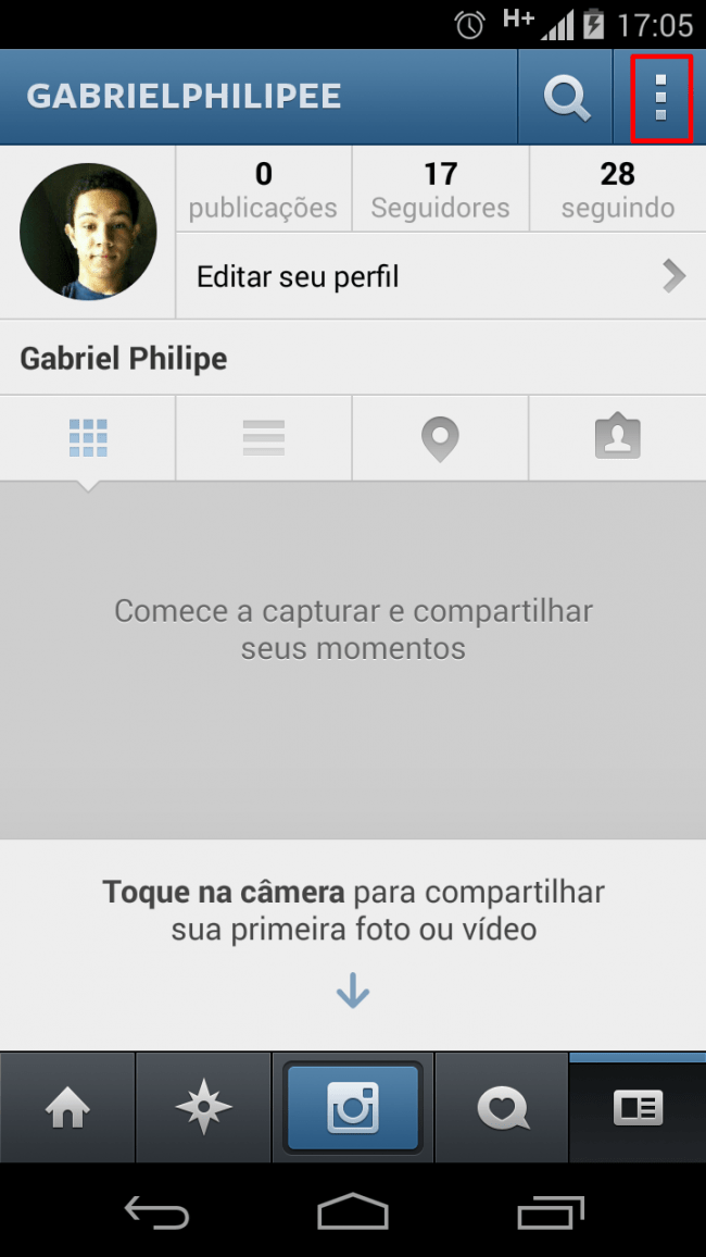 Seu perfil no Instagram
