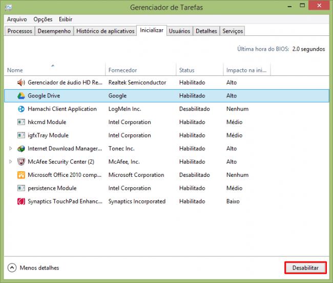 Como configurar os programas que inicializam no Windows 8?