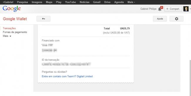 Recibo de Compra - Google Wallet