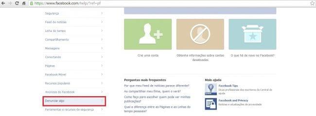 Como fazer denúncias através do Facebook sem ter uma conta na rede social