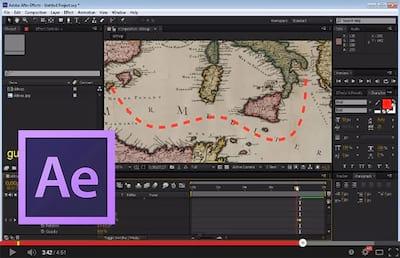 After Effects: Criando rota tracejada em um mapa
