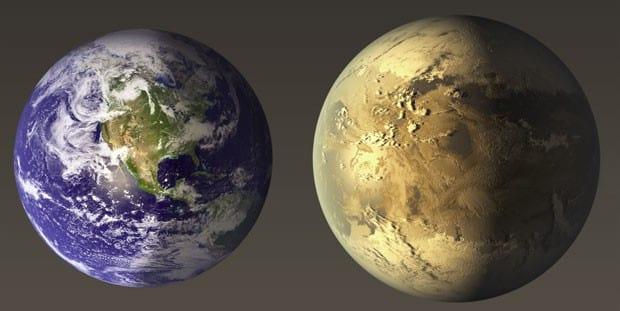 Comparação entre o Kepler-186F e a Terra