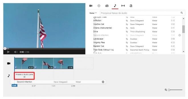 Adicionando música ao vídeo