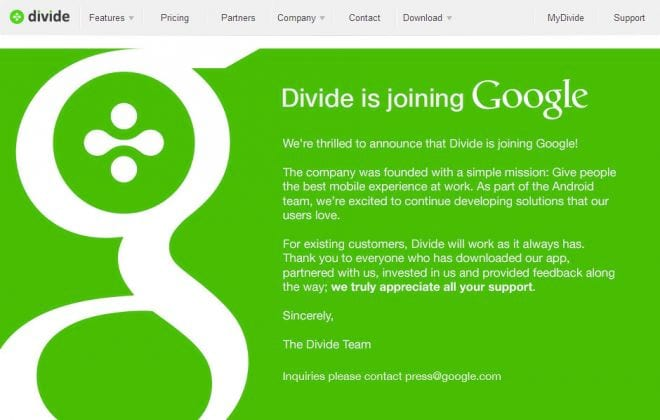 Google adquire empresa Divide