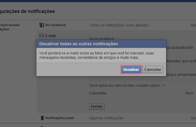 Como desativar as notificações do Facebook no e-mail?