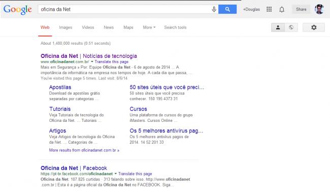 Página de resultados de um buscador.
