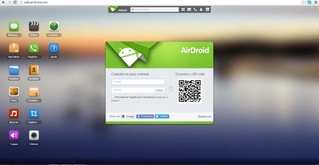 Transferindo arquivos via wifi com o Airdroid